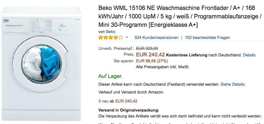Beispiel Waschmaschine kaufen Deutschland