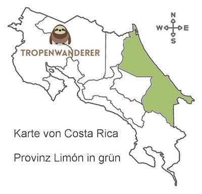 Provinz Limón auf der Costa Rica Karte