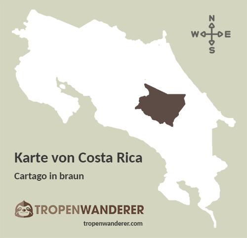 Karte Provinz Cartago, Costa Rica