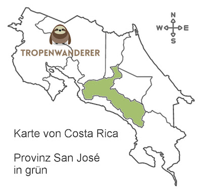 Provinz San José auf der Karte von Costa Rica