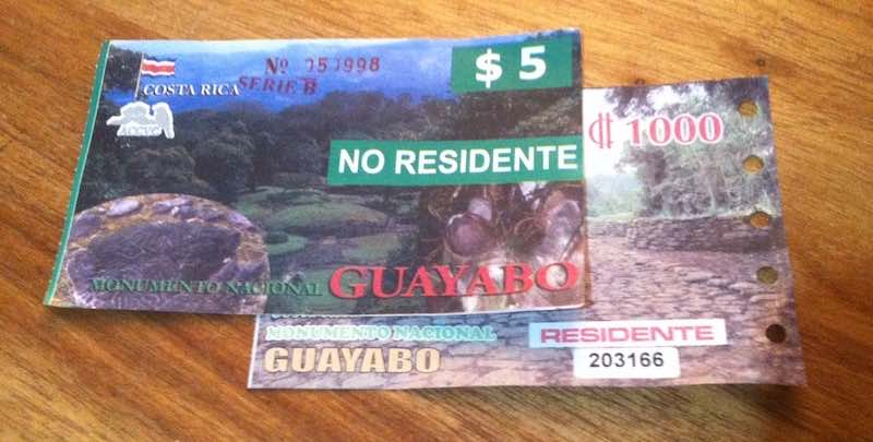 Eintritt Guayabo Park