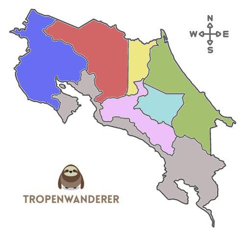Costa Rica Karte mit allen Provinzen