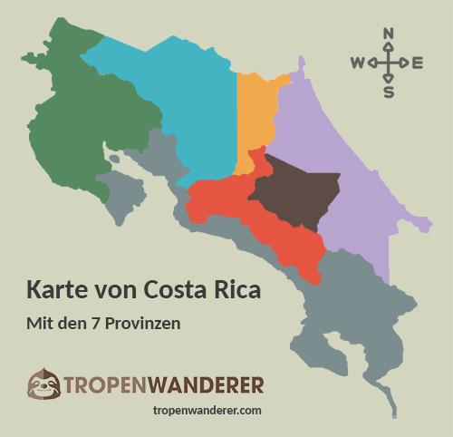 Costa Rica Karte mit Provinzen
