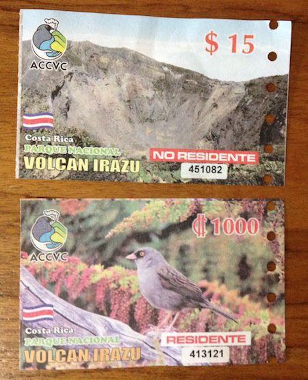 Eintritte zum Vulkan Irazú