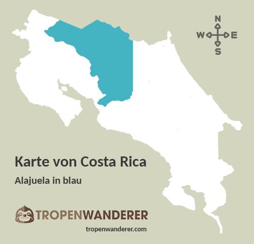 Karte Provinz Alajuela, Costa Rica
