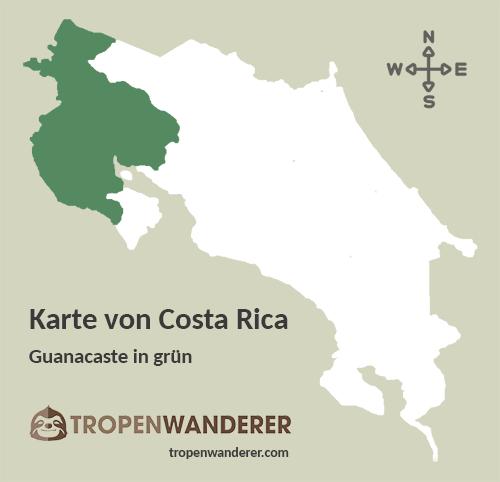 Karte Provinz Guanacaste, Costa Rica