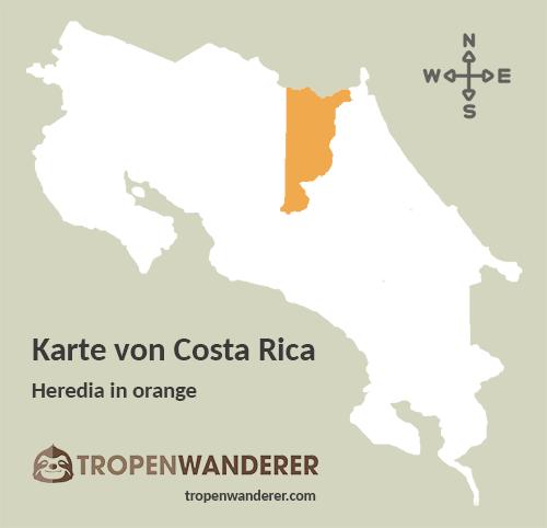 Karte Provinz Heredia, Costa Rica