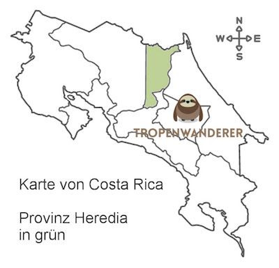 Karte von Costa Rica mit Detail Provinz Heredia