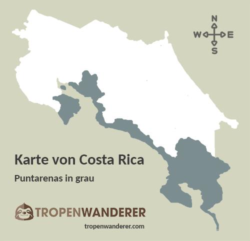 Karte Provinz Puntarenas, Costa Rica