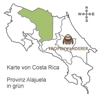 Karte Provinz Alajuela von Costa Rica