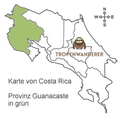 Provinz Guanacaste auf der Karte von Costa Rica
