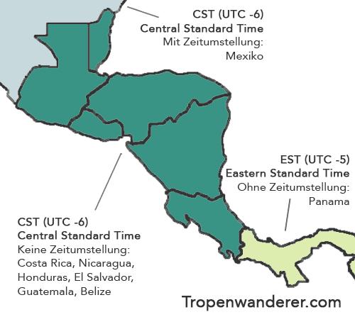 Zeitzonen Zentralamerika Karte