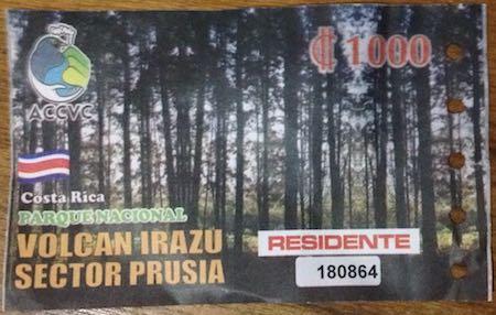 Prusia Irazu Nationalpark Eintritt