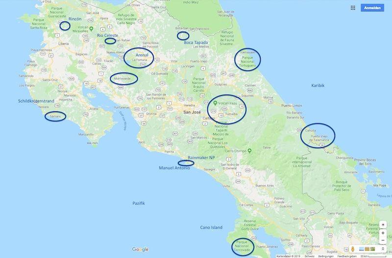 Reiseroute Costa Rica 2019